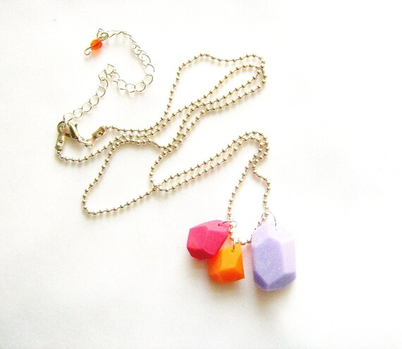 Neon geo necklace in purple, orange, hot pink - Rare Diamonds Collection