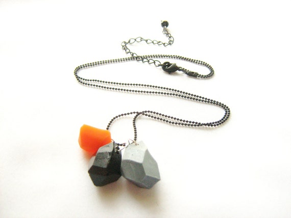Neon orange and black geo necklace with silver grey - Rare Diamonds Collection