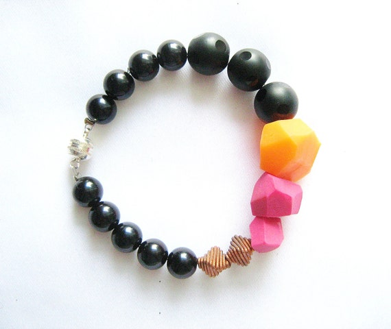 Pink Black Tangerine Bracelet - Matisse -  handmade geometric jewelry -  Rare Diamonds Collection