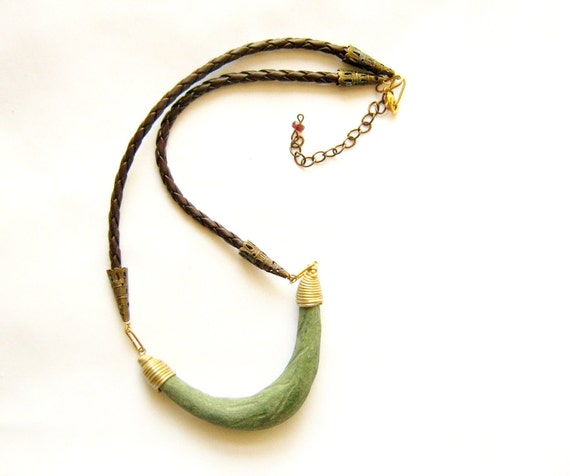 Super Sale - Driftwood Necklace in Olive Green and Brown - ELEMENTS Collection-  Modern Tribal Handmade Jewelry - leather, polymer clay