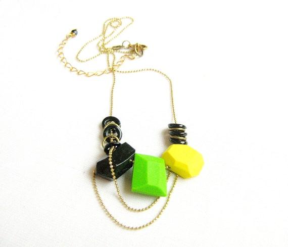 Neon Flash Geo Necklace in Black, Green, Yellow,  Handmade Geo Beaded Jewelry - Rare Diamonds Collection