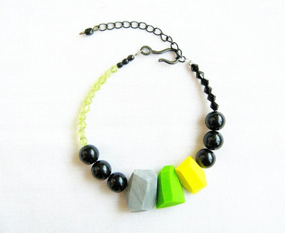 Neon Flash Geo Bracelet in Black, Green, Yellow, Grey -  Handmade Geo Beaded Jewelry - Rare Diamonds Collection