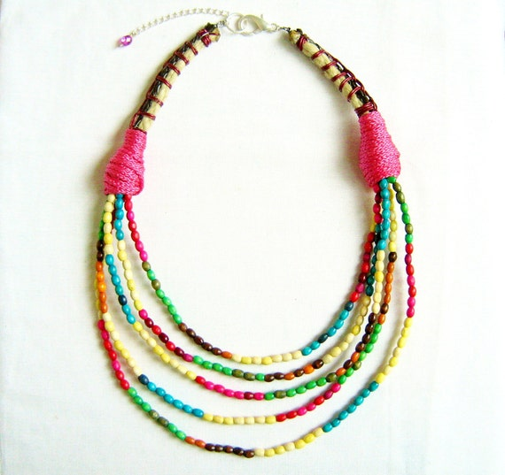 Neon Rainbow Statement Necklace - multicolor  handmade layered necklace