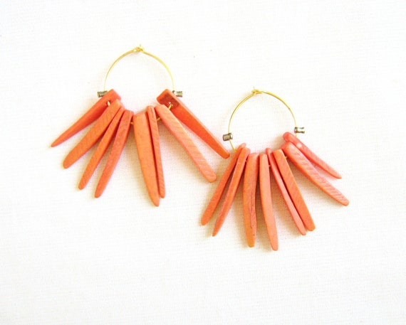 Gold Hoop Earrings in Salmon Orange, Troopical Queen Earrings, Tusk  Earrings