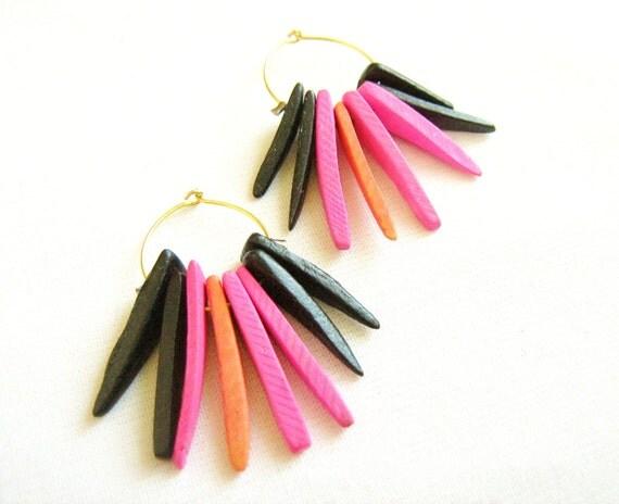 Coco Spikes Earrings, Gold Fringe Hoops in Hot Pink Salmon Black, Coco Tusk Tribal Spikes Handmade earrings