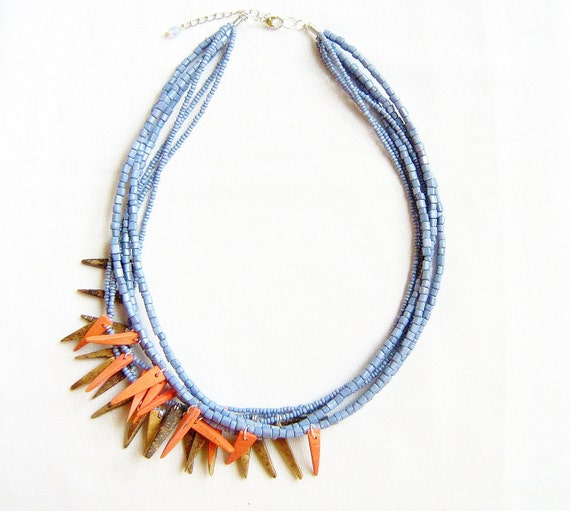 Spike Statement Necklace in Blue, Salmon, Taupe -  Abstract Triangle Geometric  tribal inspired handmade necklace