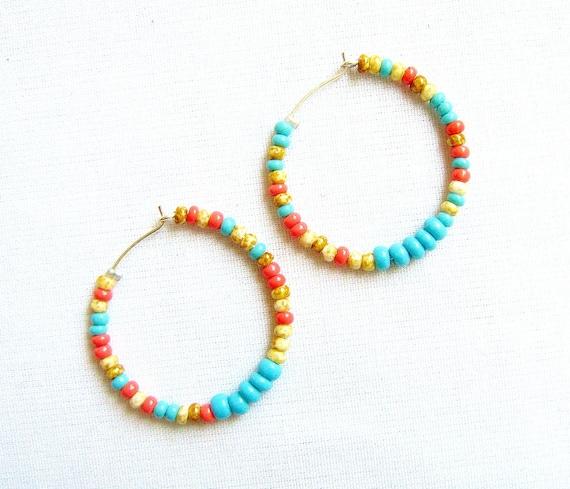 Multicolor Hoop Earrings, Beaded hoops on silver