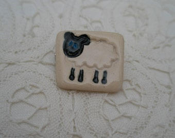Sweet Folk Art Ceramic Little Lamb Brooch