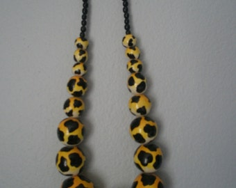 Hand Painted Tiger Print Bead Necklace