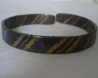 Striated Artistic Multi Metal Bracelet