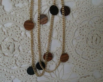 Vintage Gold Tone Chain with Simulated Wood Discs