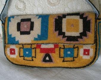 Vintage Beaded Aztec Design Purse