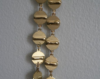 Pinched Gold Disc Design Necklace