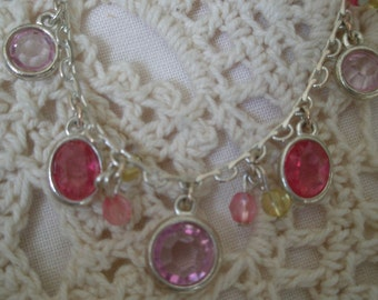 Playful Pink & Purple Silver Plated Necklace