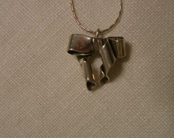 Antique Sterling Bow Pendant Necklace