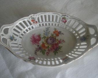 Bavarian Openwork Floral Pin Tray Trinket Dish