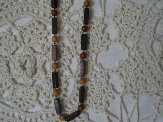 Vintage Wood Bead Friendship Necklace