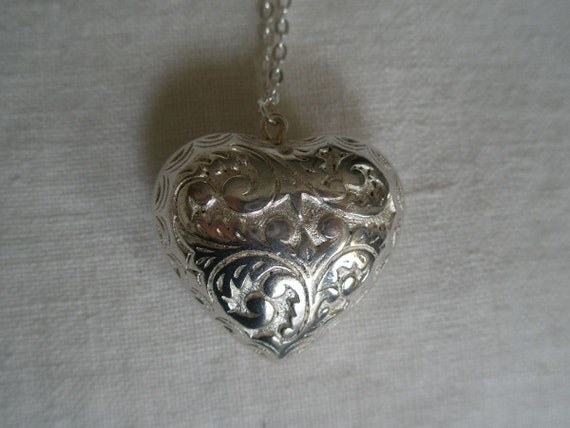 Sterling Embossed Puffed Heart Pendant Necklace