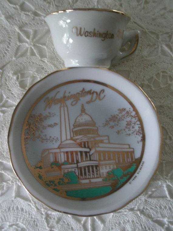 Collectible Vintage Miniature Washington DC Cup and Saucer Souvenir Set