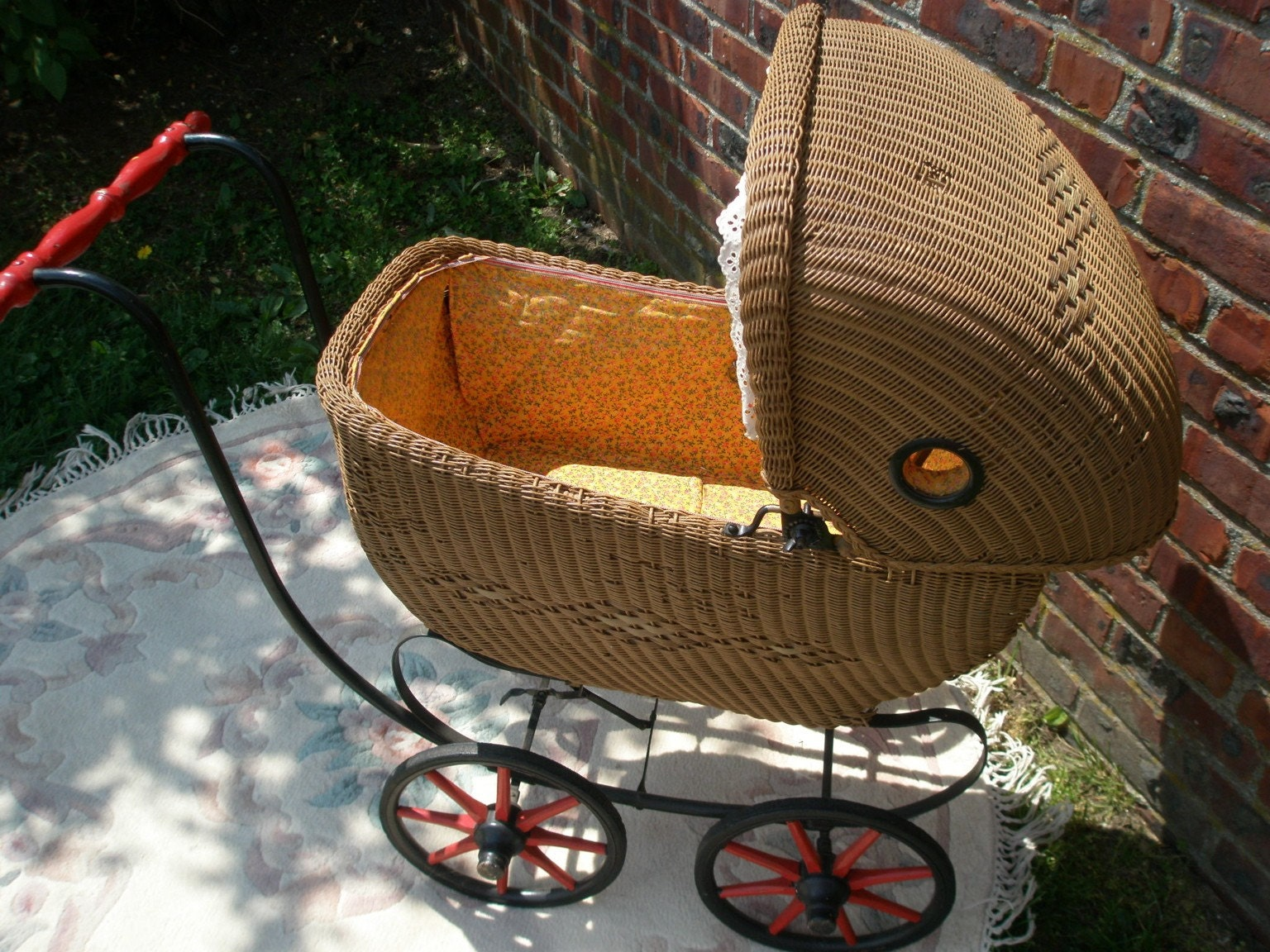 Antique Wicker Doll Carriage Circa Early 1900s
