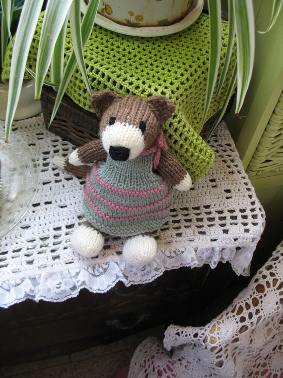 Mollie  Handknitted girl cat doll soft sculpture...very cute and very sweet