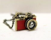 My Precious Memory - Red Leather Camera Necklace with Crystal lens