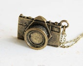 Go Shooting - Camera Necklace (N260) in brass color