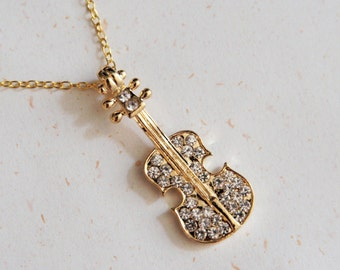 Music Lover - Gold color Violin Necklace with crystal(N156)