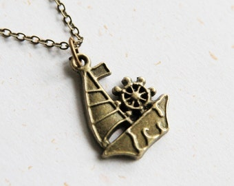 Go Sailing - Junk & Anchor Necklace (N226) in vintage brass color