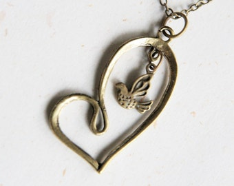 Fly with Love - Heart shape necklace with bird (N227)