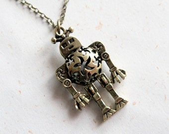 Robot Necklace (N279) in vintage brass color
