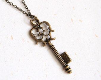 Lock it up - Vintage Brass Color Key Necklace (N171)