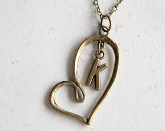 Custom Initial Heart Necklace (N303)