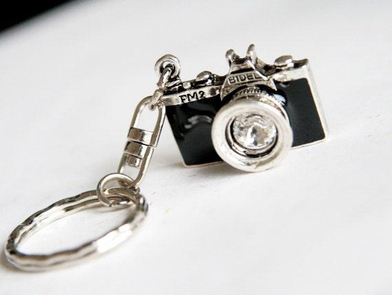 Black Camera Keychain / keyring