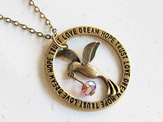 Dream bringer  - Bird and crystal necklace (N234)