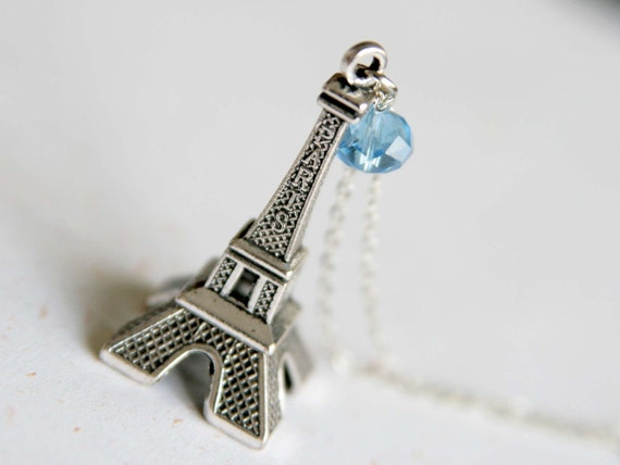 Paris Romance - Effiel Tower Necklace in Vintage silver color (N083)