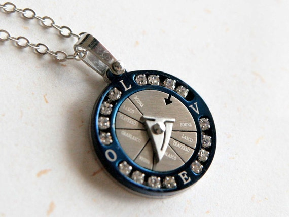 Compass Necklace (N294) - Blue stainless steel compass, Love compass