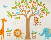 NEW DESIGN - Safari Playland (with 6 types of animal) - dd1040 - Nursery Vinyl Wall Sticker Decal Baby Kid