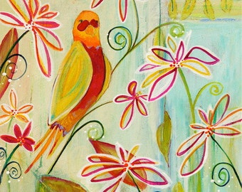 Colorful Contemporary Bird & Flower Painting