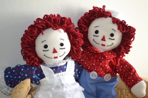 Made to Order : Handmade 15in. Raggedy Ann and Andy Doll set