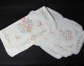 SALE  Pink Aqua Floral Embroidered Vintage Linen Dresser Set