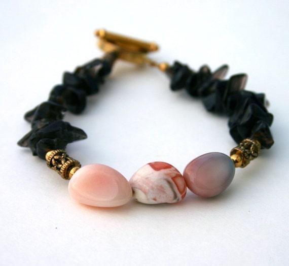 Pink Botswana Agate and Smoky Quartz Bracelet