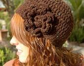 Brown Speckled Cloche w/Flower