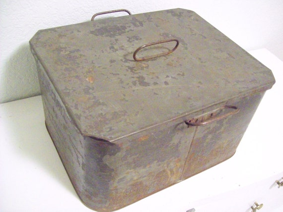 Vintage Wwii Military Usqmc Zinc Box With Lid By