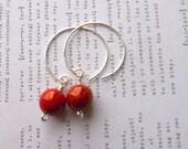 Red Silver hoop earrings Red earrings Medium Hoop Earrings Handmade earrings Womens Fashion Jewelry