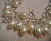 Pearl Cluster Bracelet Freshwater Pearl Charm bracelet clear faceted crystals Sterling Silver