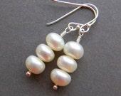 White Freshwater Pearl Earrings, Pearl Earrings, Pearl Bridal earrings, Button pearls, sterling silver, Wedding jewelry, Bridesmaid, Bride