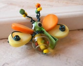 Bumblebee pin Spring colors Yellow Orange Green Bumblebee with purse Accessories Scarf Pin Coat Pin Brooch
