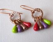 Copper Hoop Earrings, Colorful Earrings, Beaded Hoop Earrings, Copper Dangle Earrings, Handmade