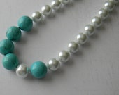Turquoise and Pearl Necklace, Chunky Beaded Necklace, Statement Necklace, Pearls and Turquoise